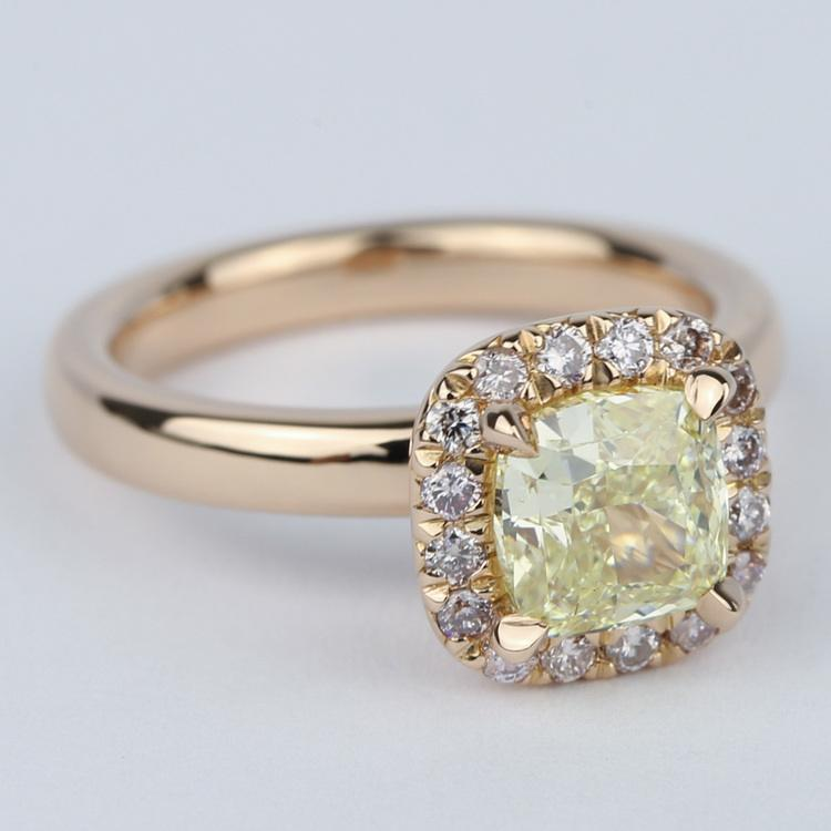 Fancy Yellow Cushion Diamond Engagement Ring in Rose Gold Halo angle 3