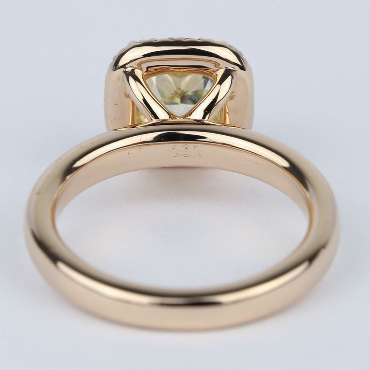 Fancy Yellow Cushion Diamond Engagement Ring in Rose Gold Halo angle 4