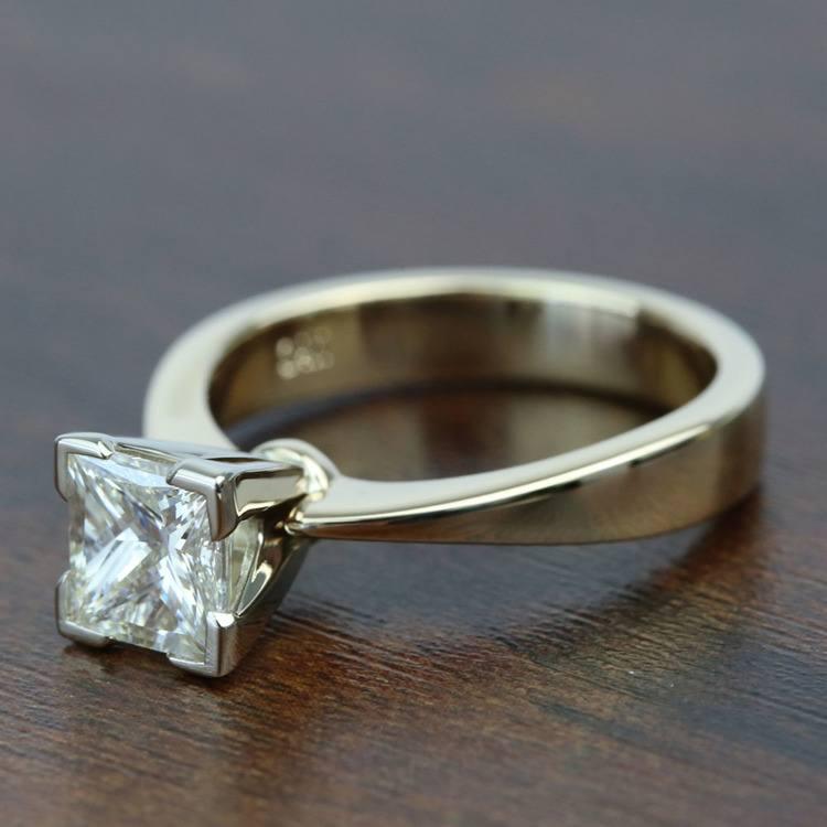1.5 Carat Flat Taper Solitaire Princess Diamond Engagement Ring angle 2