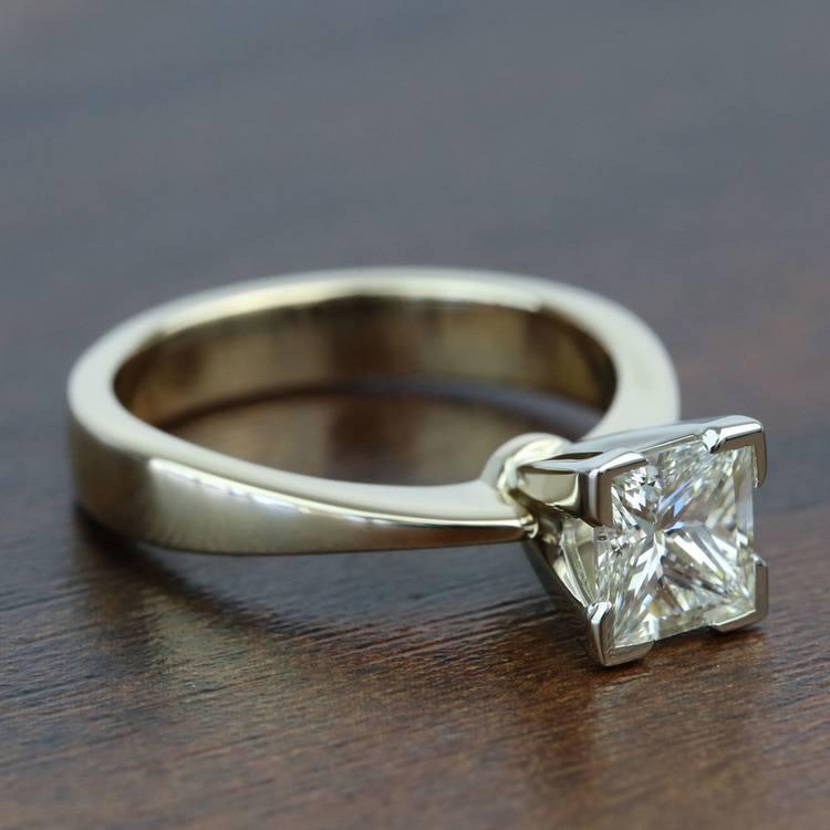 1.5 Carat Flat Taper Solitaire Princess Diamond Engagement Ring angle 3