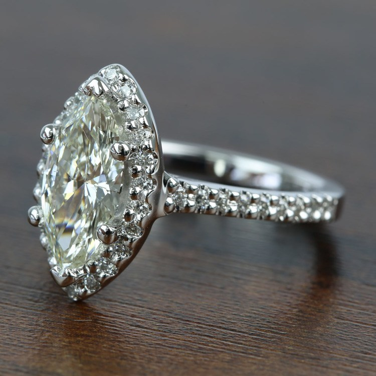 1.5 Carat Marquise Halo Diamond Engagement Ring angle 2