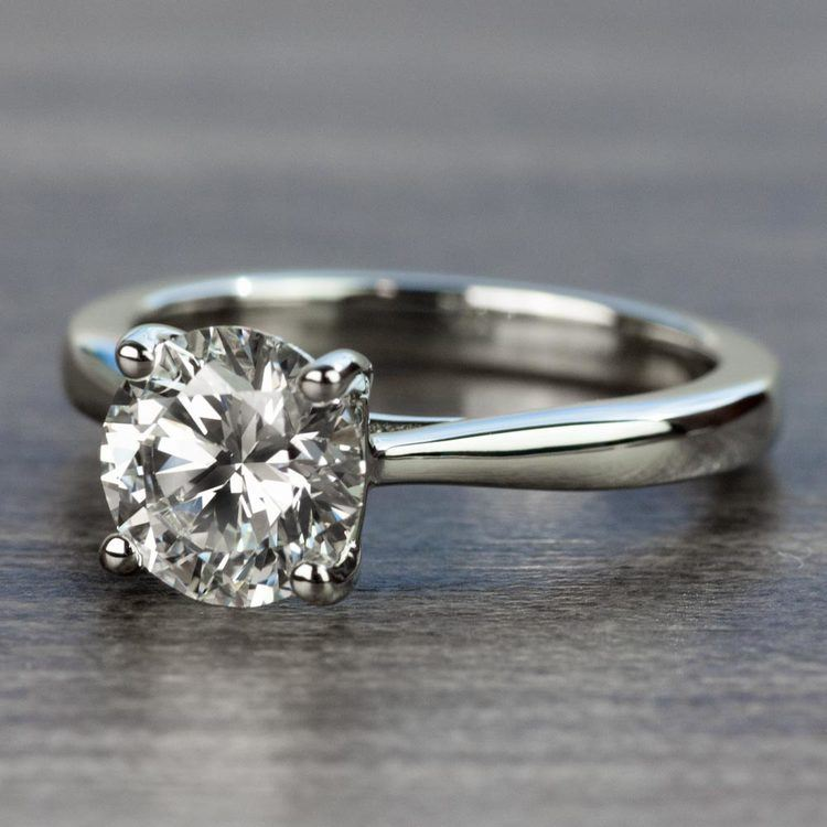 1.50 Carat Round Diamond with Taper Solitaire Engagement Ring angle 2