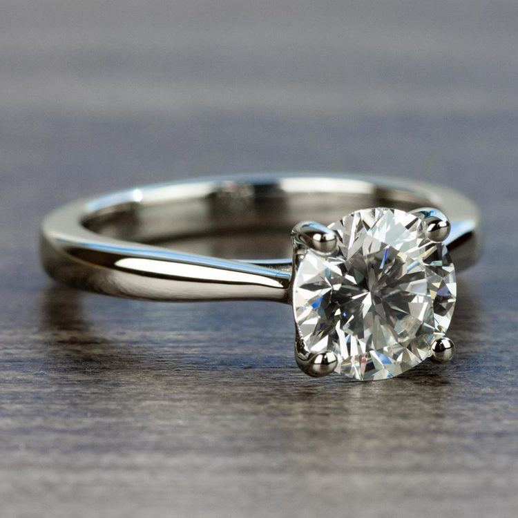 1.50 Carat Round Diamond with Taper Solitaire Engagement Ring angle 3