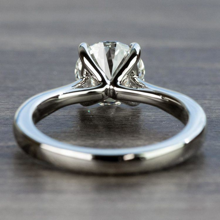 1.50 Carat Round Diamond with Taper Solitaire Engagement Ring angle 4