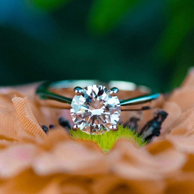 1.50 Carat Round Diamond with Taper Solitaire Engagement Ring angle 5