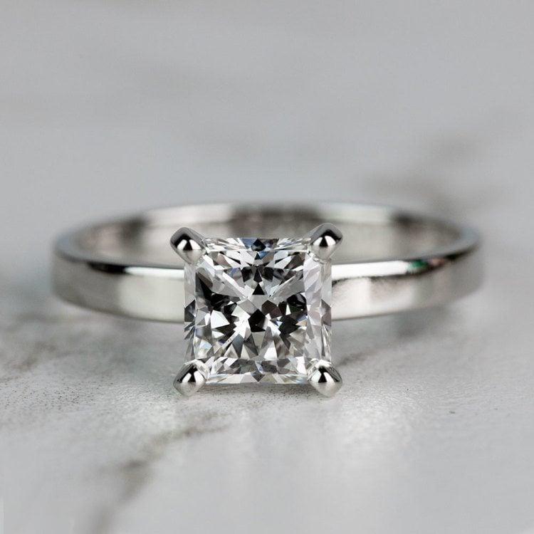 1.51 Carat Radiant Flat Solitaire Diamond Engagement Ring