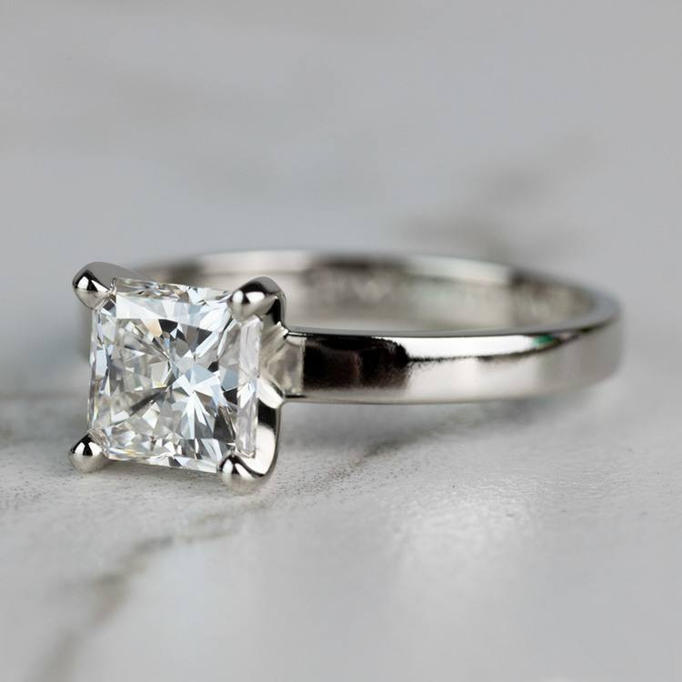 1.51 Carat Radiant Flat Solitaire Diamond Engagement Ring angle 2