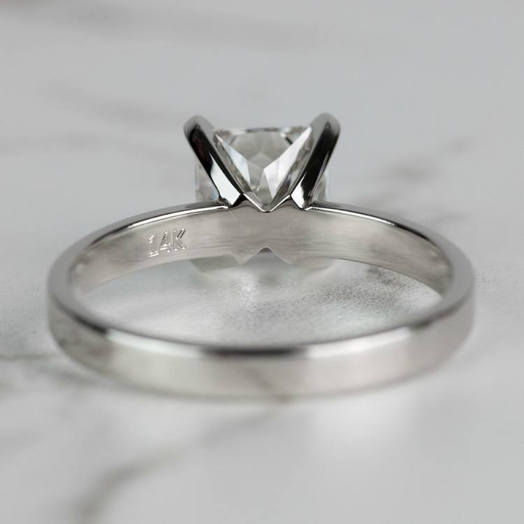 1.51 Carat Radiant Flat Solitaire Diamond Engagement Ring angle 4