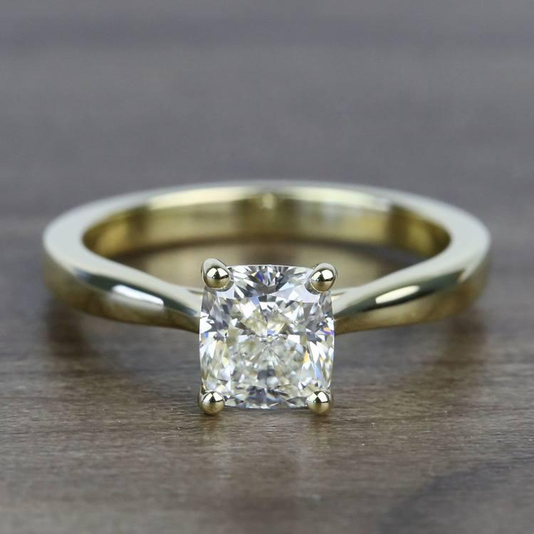 1.51 Carat Taper Cushion Solitaire Diamond Engagement Ring