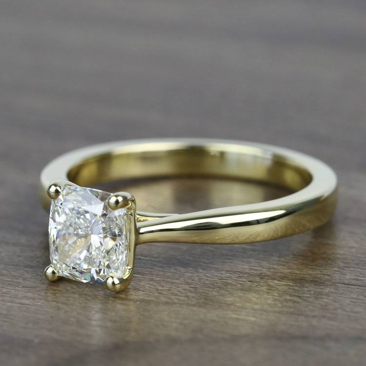1.51 Carat Taper Cushion Solitaire Diamond Engagement Ring angle 2