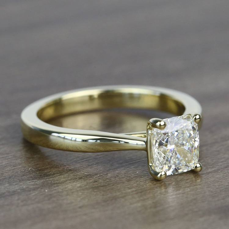1.51 Carat Taper Cushion Solitaire Diamond Engagement Ring angle 3