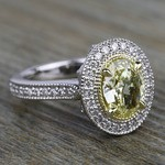 Antique Halo Engagement Ring with Oval Yellow Diamond - small angle 3