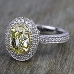 Antique Halo Engagement Ring with Oval Yellow Diamond - small angle 2