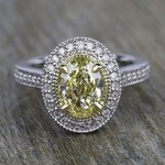 Antique Halo Engagement Ring with Oval Yellow Diamond - small