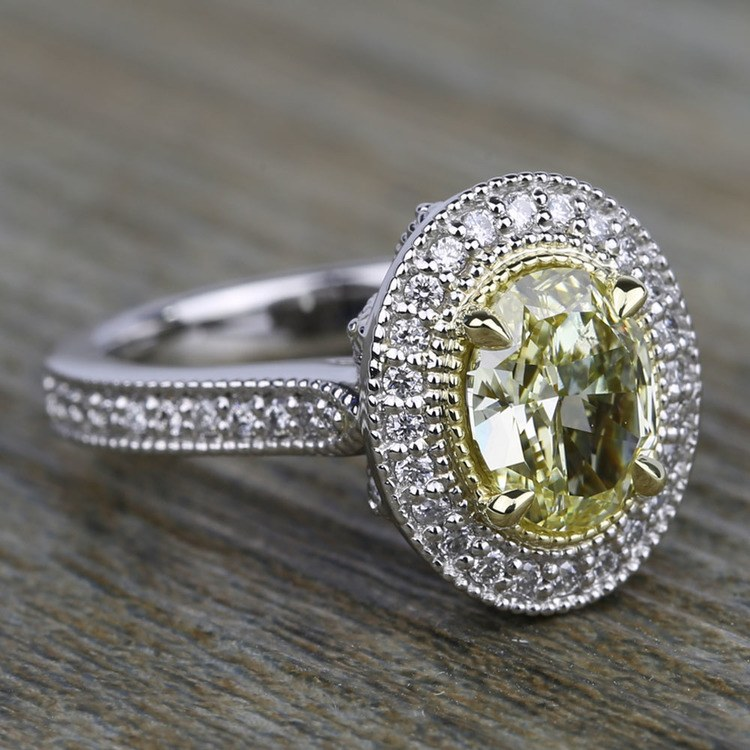 Antique Halo Engagement Ring with Oval Yellow Diamond angle 3