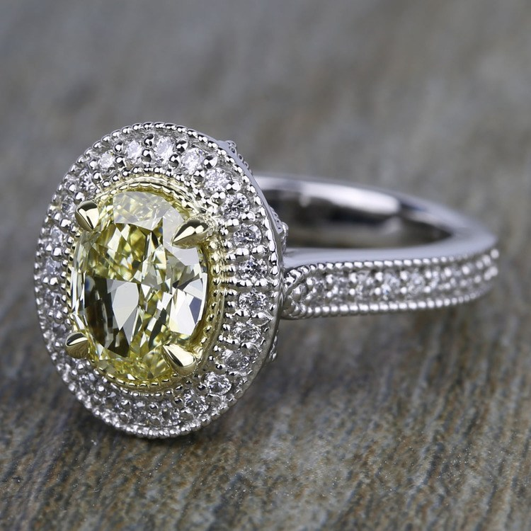 Antique Halo Engagement Ring with Oval Yellow Diamond angle 2