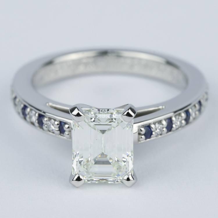 Emerald Diamond & Sapphire Engagement Ring (1.50 Carat)