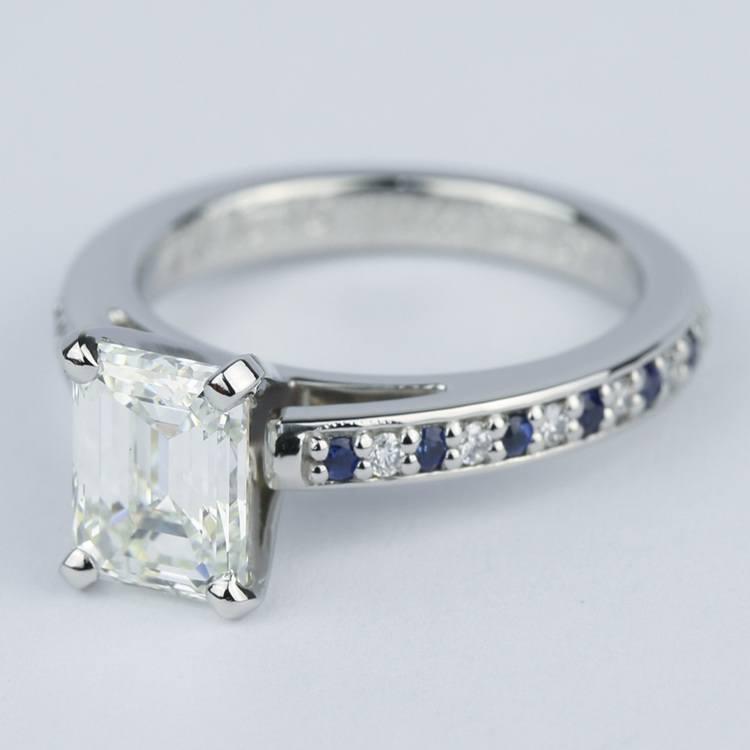 Emerald Diamond & Sapphire Engagement Ring (1.50 Carat) angle 2