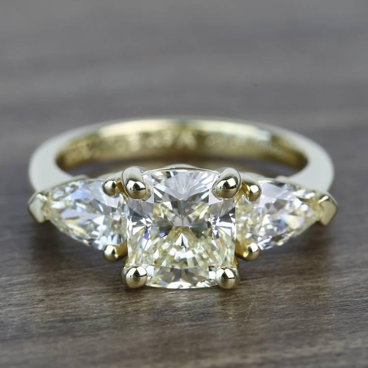 1.56 Carat Cushion & Pear Custom Diamond Engagement Ring