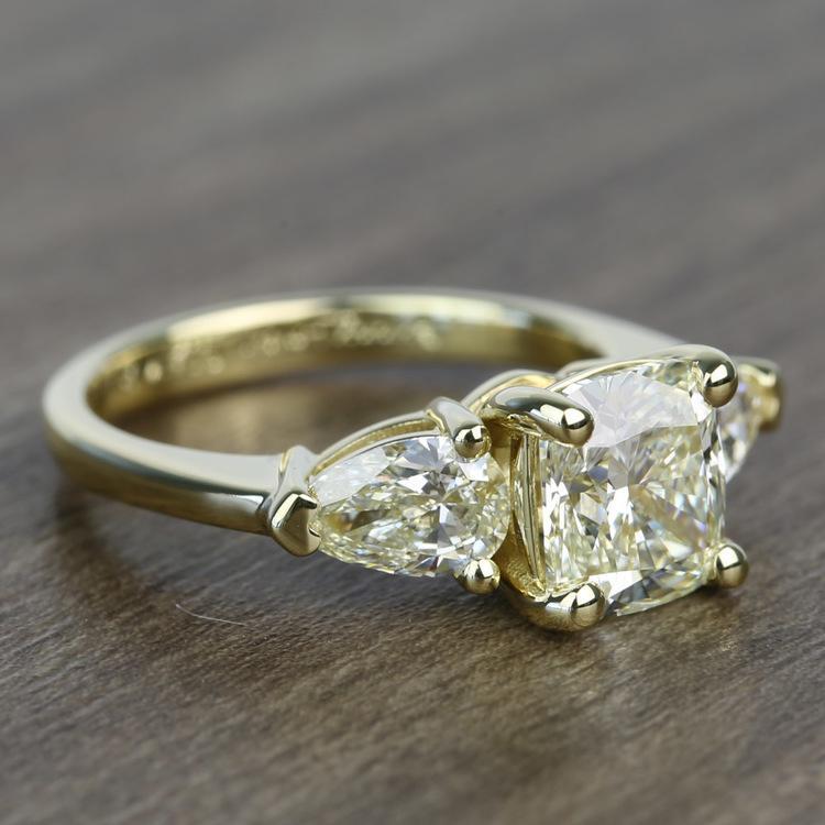 1.56 Carat Cushion & Pear Custom Diamond Engagement Ring angle 3