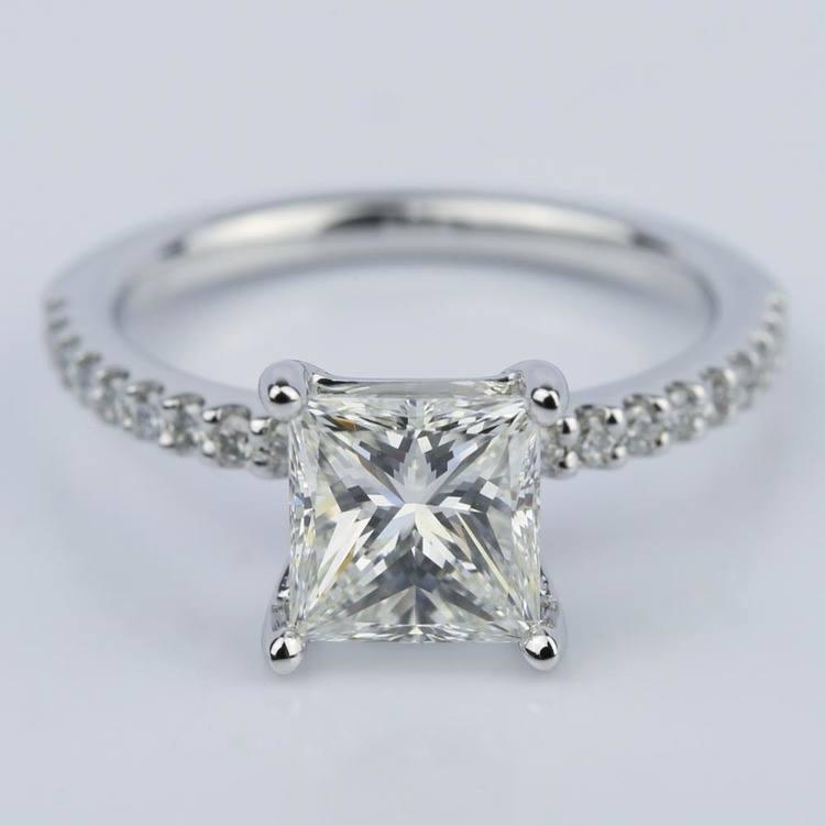 1.56 Carat Princess Diamond Scallop Engagement Ring