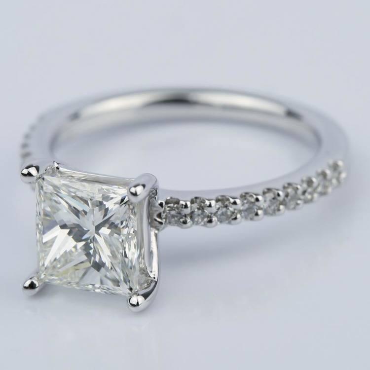 1.56 Carat Princess Diamond Scallop Engagement Ring angle 2