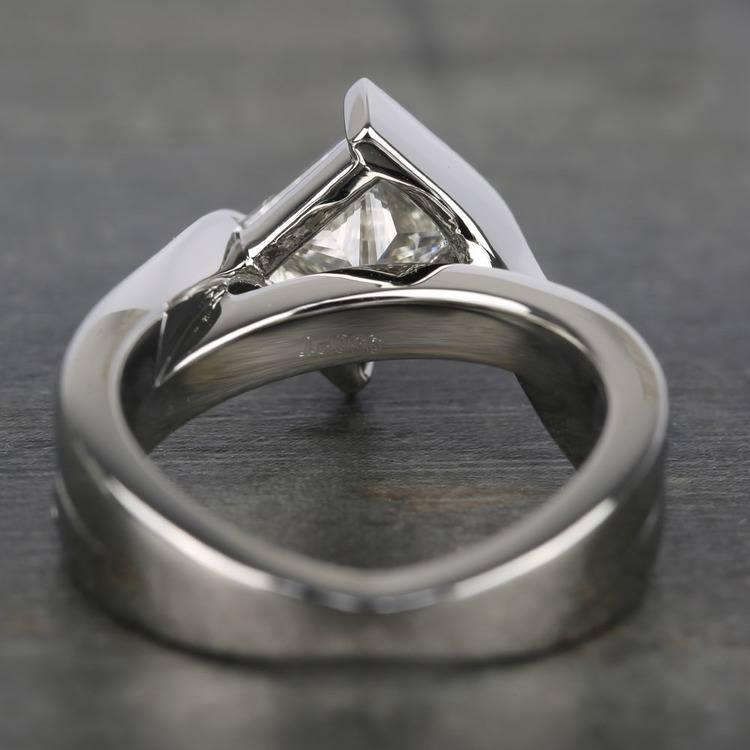 1.61 Carat Princess Bezel Diamond Bridge Engagement Ring  angle 4