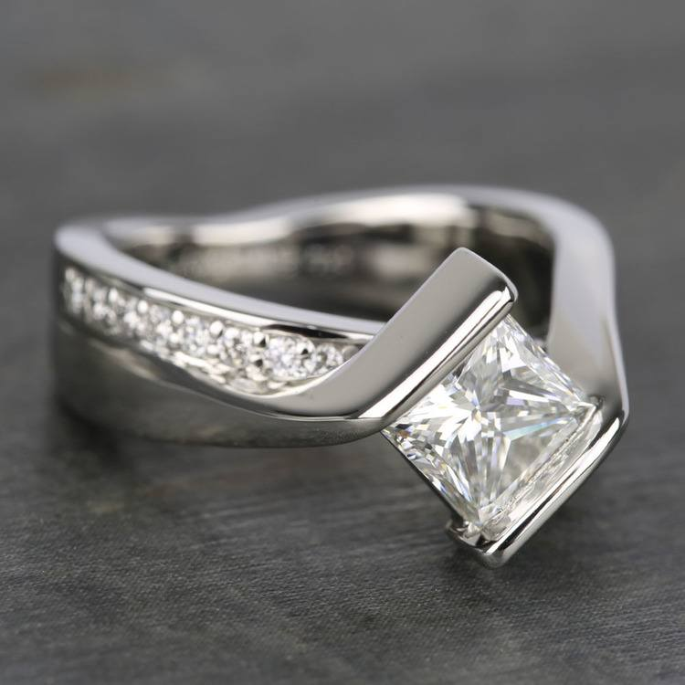 1.61 Carat Princess Bezel Diamond Bridge Engagement Ring  angle 3