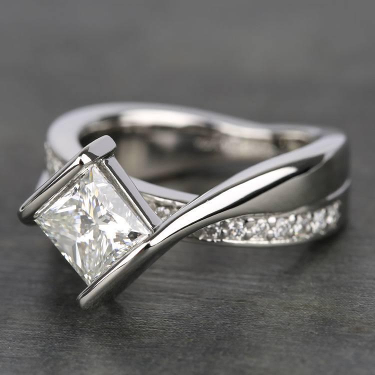 1.61 Carat Princess Bezel Diamond Bridge Engagement Ring  angle 2