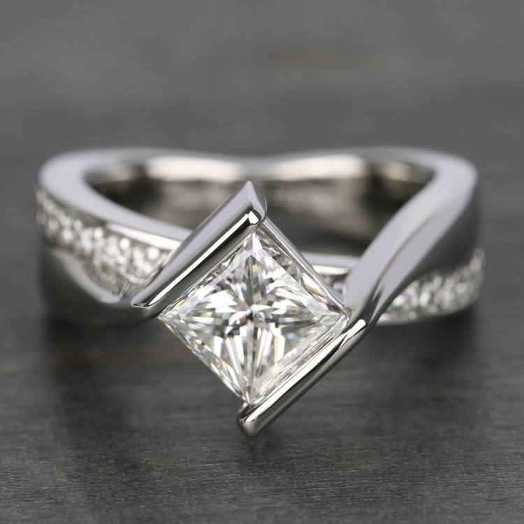 1.61 Carat Princess Bezel Diamond Bridge Engagement Ring