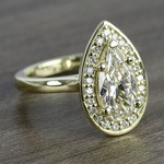 Dramatic Pear Cut Diamond with Yellow Gold Halo Ring (1.50 Carat) - small angle 3