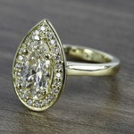 Dramatic Pear Cut Diamond with Yellow Gold Halo Ring (1.50 Carat) - small angle 2