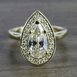 Dramatic Pear Cut Diamond with Yellow Gold Halo Ring (1.50 Carat) - small