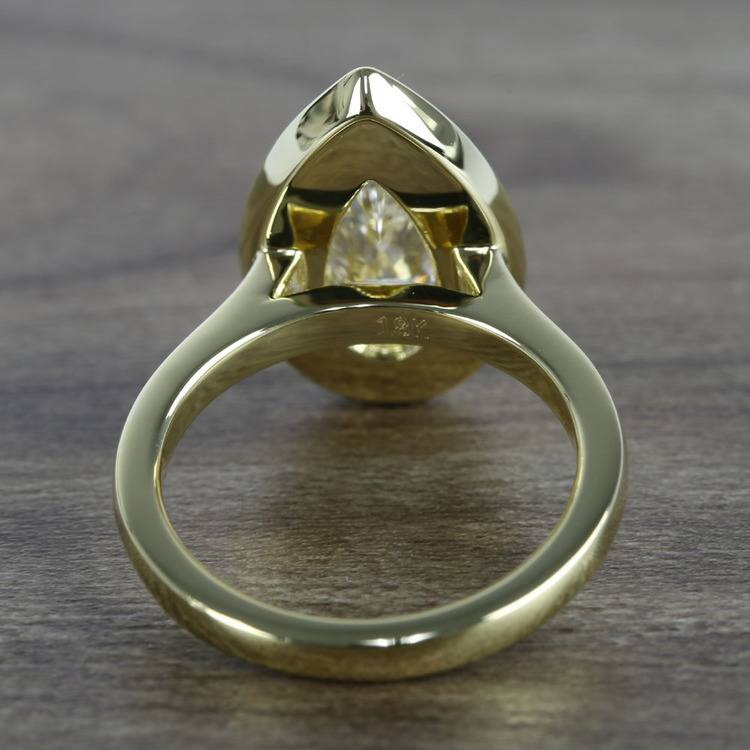 Dramatic Pear Cut Diamond with Yellow Gold Halo Ring (1.50 Carat) angle 4