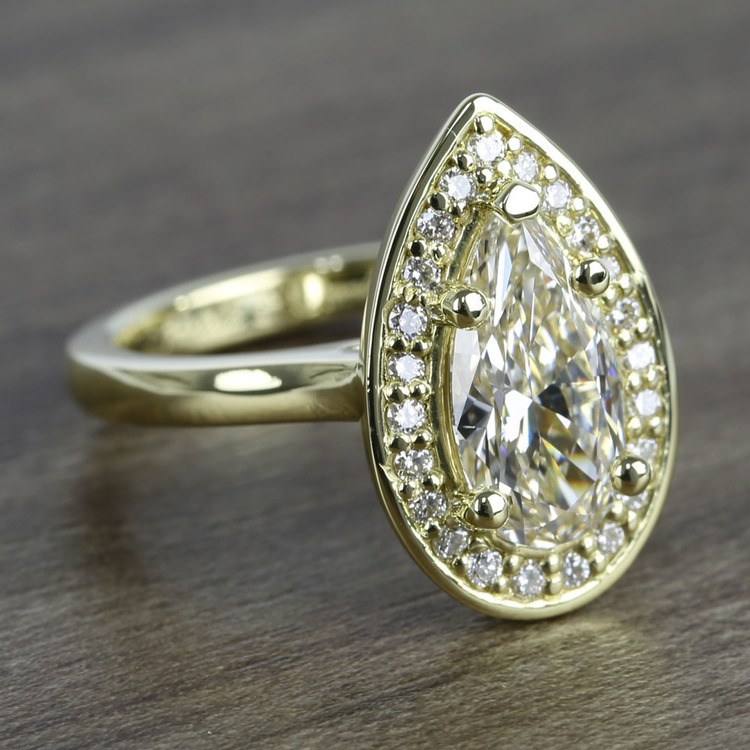 Dramatic Pear Cut Diamond with Yellow Gold Halo Ring (1.50 Carat) angle 3