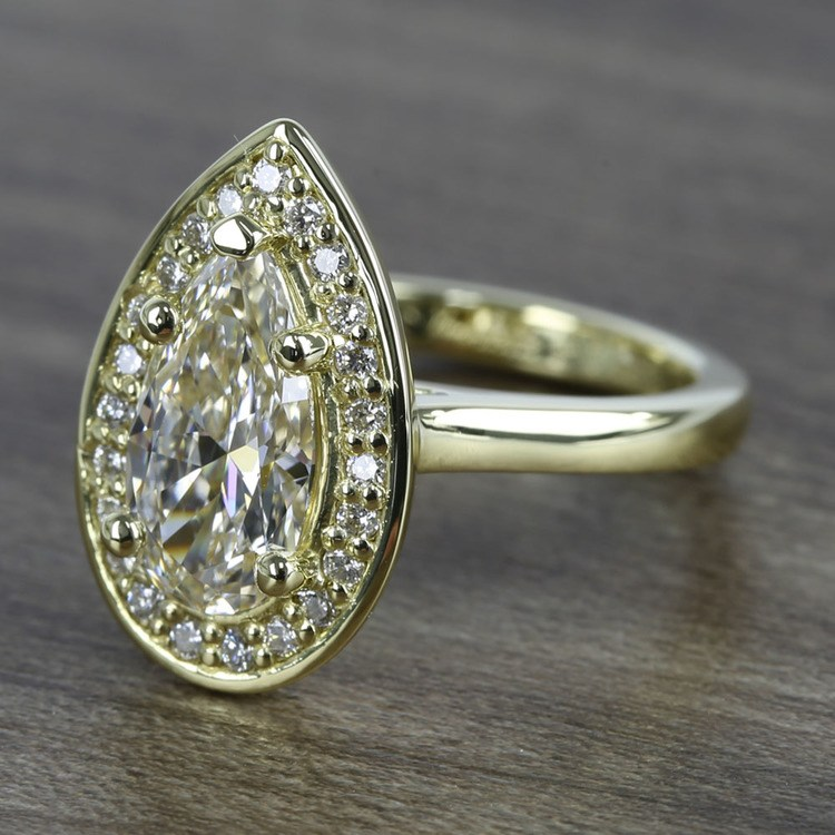 Dramatic Pear Cut Diamond with Yellow Gold Halo Ring (1.50 Carat) angle 2