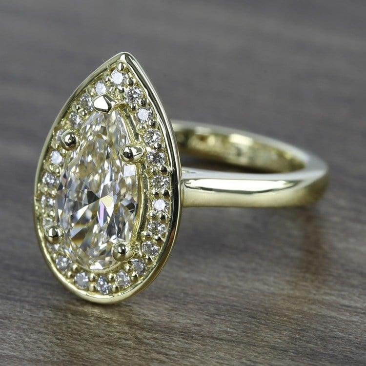 Dramatic Pear Cut Diamond with Yellow Gold Halo (1.50 Carat) angle 2