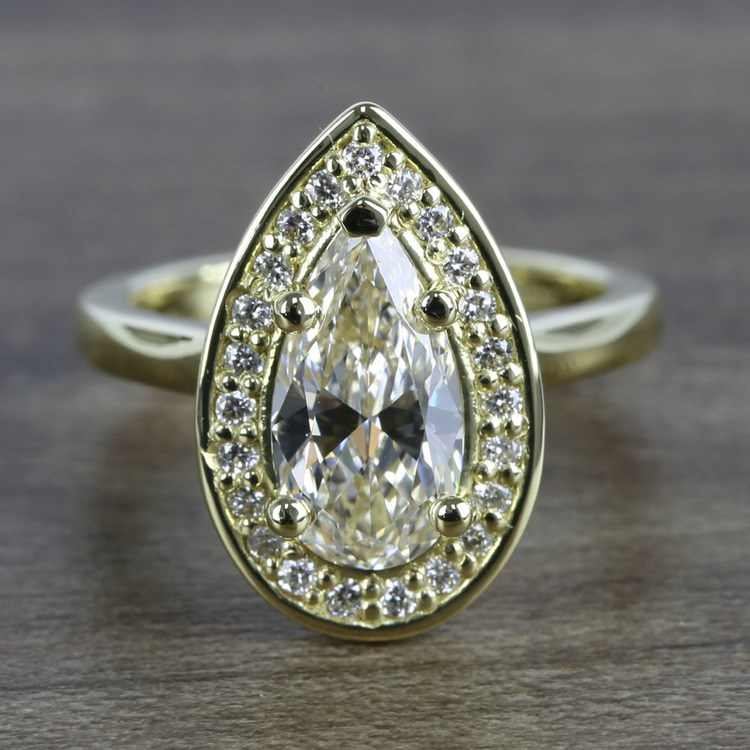 Dramatic Pear Cut Diamond with Yellow Gold Halo Ring (1.50 Carat)