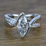 1.66 Carat Marquise Bezel Diamond Bridge Engagement Ring - small