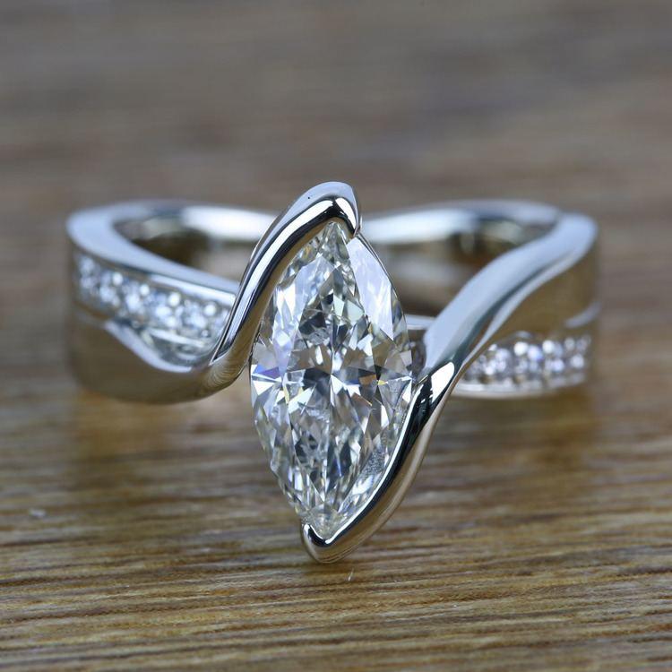1.66 Carat Marquise Bezel Diamond Bridge Engagement Ring