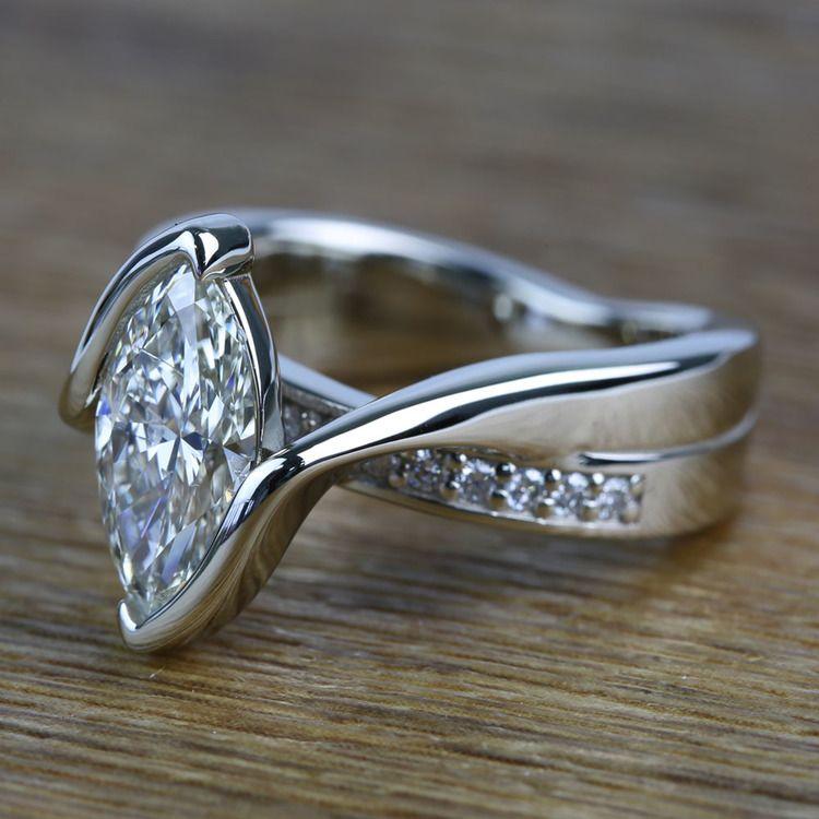 1.66 Carat Marquise Bezel Diamond Bridge Engagement Ring angle 2