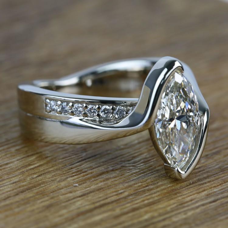 1.66 Carat Marquise Bezel Diamond Bridge Engagement Ring angle 3