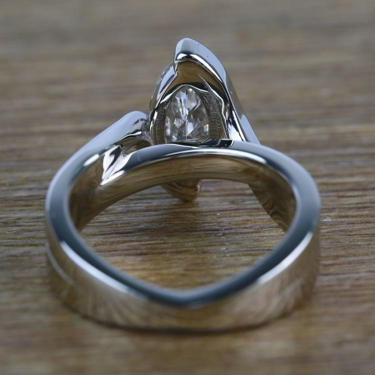 1.66 Carat Marquise Bezel Diamond Bridge Engagement Ring angle 4