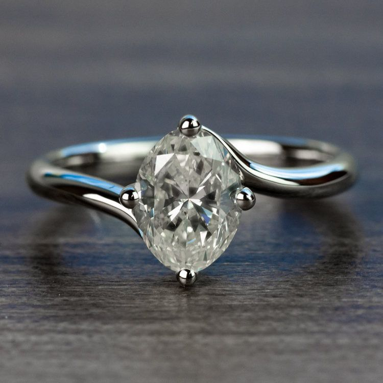 1.70 Carat Oval Diamond Swirl Style Solitaire Engagement Ring
