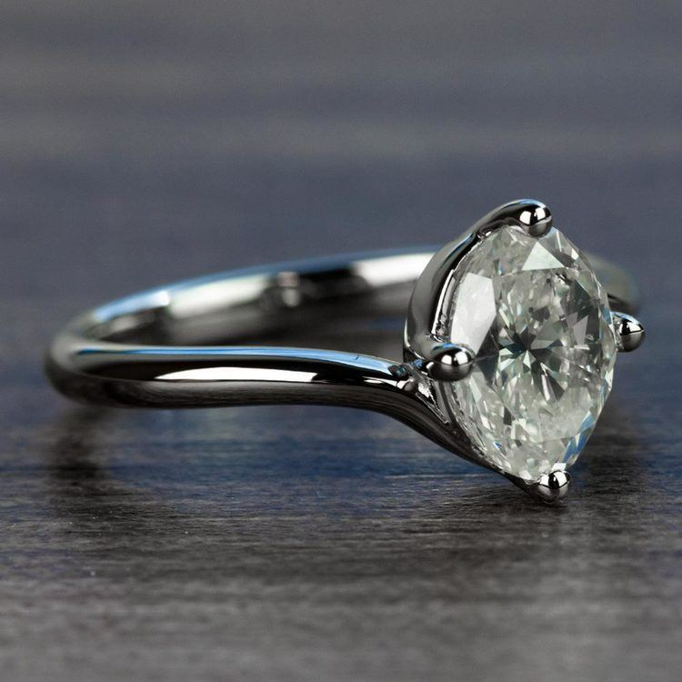 1.70 Carat Oval Diamond Swirl Style Solitaire Engagement Ring angle 3