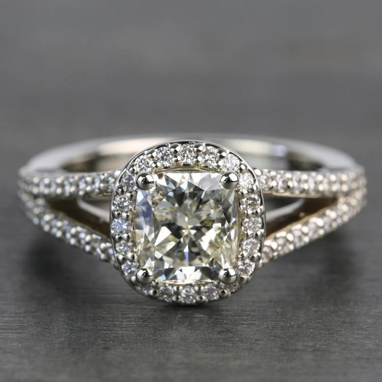 1.71 Carat Cushion Split Shank Halo Diamond Engagement Ring