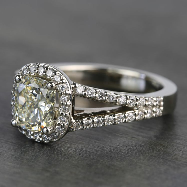 1.71 Carat Cushion Split Shank Halo Diamond Engagement Ring angle 2