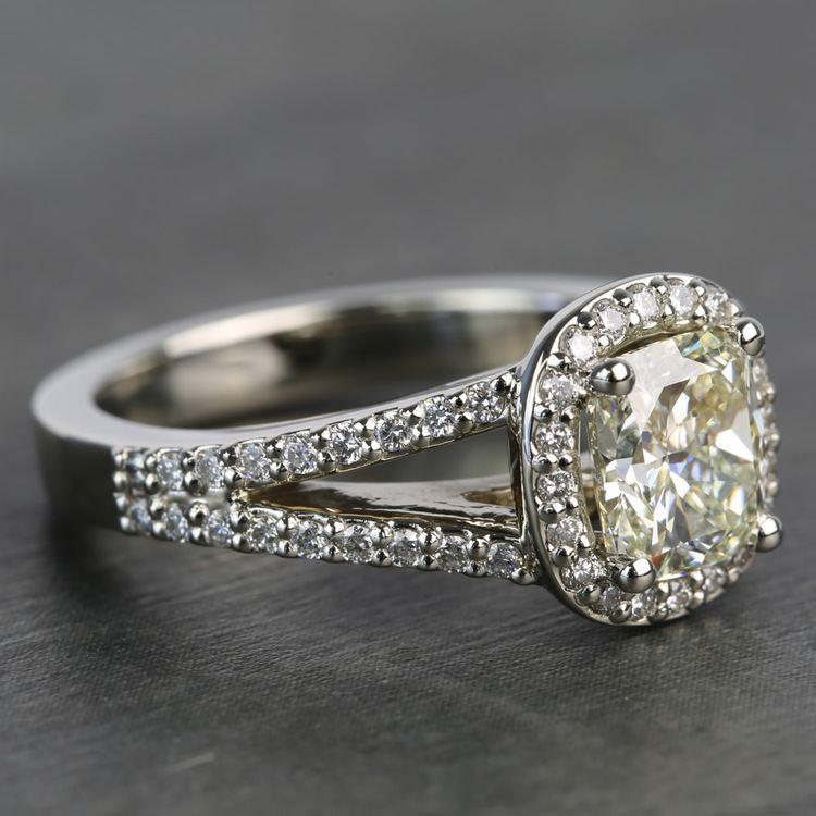 1.71 Carat Cushion Split Shank Halo Diamond Engagement Ring angle 3