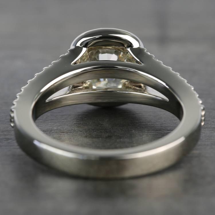1.71 Carat Cushion Split Shank Halo Diamond Engagement Ring angle 4