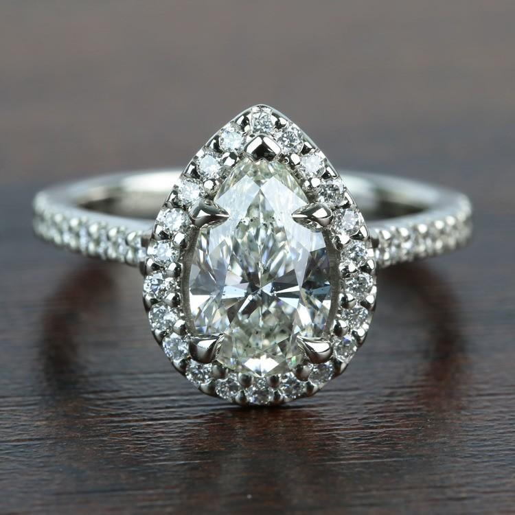 1.73 Carat Pear Halo Diamond Engagement Ring